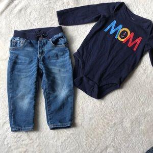 18 month Baby Gap jeans & I ❤️ Mom onesie